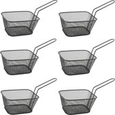 6x stuks zwarte patat/snack serveermandjes/frietmandjes 14 cm - Tafeldecoratie - Patat/snack serveren in een mandje