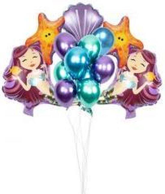 Mermaid Versiering - 13 Stuks - Zeemeermin Ballonnen Set - Folieballon Zeemeermin - Zeemeermin Feest