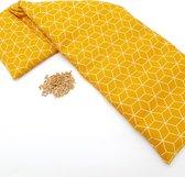Pittenzak XL Met Pit! – Extra lang  –  Wasbare hoes  –  Pittenkussen met tarwe  –   Magnetron / vriezer  –  Made in NL – Okergeel grafisch