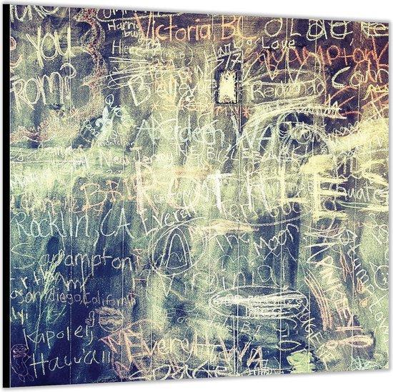 Dibond –Krijt op Schoolbord– 50x50 Foto op Aluminium (Wanddecoratie van metaal)