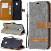 Kleuraanpassing Denim Texture Horizontale Flip Leather Case met houder & kaartsleuven & portemonnee & lanyard voor Nokia 2.2 (grijs)