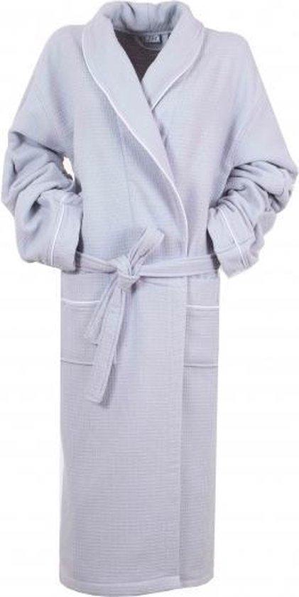 Bamboe Wafel Badjas Grijs - Gevoerd - Unisex Maat L/XL - Mouwlengte Ca. 60cm - Dames / Heren / Unisex - Wafel Badjas Voor Sauna Wellness - Hotelkwaliteit