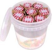10x Weckpotjes 210 ml in kunststof emmer - Voorraadpotjes / weckpotten / jampotjes