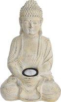 1x Boeddha tuinbeeld creme met solar verlichting op zonne-energie 33 cm - Tuindecoratie/accessoires - Tuinbeelden met licht