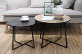 LIFA LIVING Moderne Bijzettafels |  Set van 2 |  Zwarte en Beige Salontafels |  Hout en Metalen Koffietafels |  Ronde Bijzettafels voor Woonkamer |  Slaapkamer |  Keuken