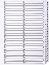 4x Bedrukte tabbladen karton 160g - geplastificeerde tabs - 50 tabs - 1 tot 50 - A4, Wit