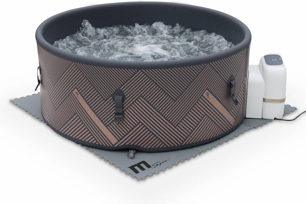 Ronde opblaasbare spa MSPA - Mono 6 grijs- nieuw model - Spa voor 6 personen Ø 173cm, Rigide versterkt PVC, pomp, hoes, vloermat