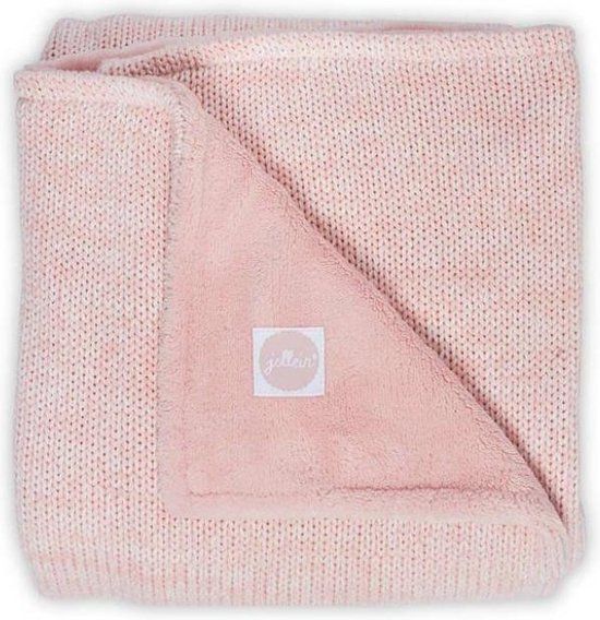 Deken 100x150cm Melange knit soft pink/coral fleece