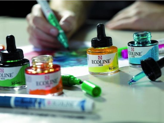 """Talens Ecoline 5 ronde flacons met pipet """"Additional"""""""