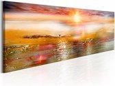 Schilderij - Oranje zee