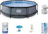 EXIT Stone zwembad voordeelpakket – Rond - 300 x 76 cm – Grijs – Deluxe