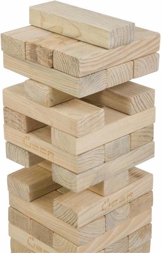 Afbeelding van het spel Stapeltoren spel, tot 90 cm hoog, ECO pijnbomenhout  Top Kwaliteit