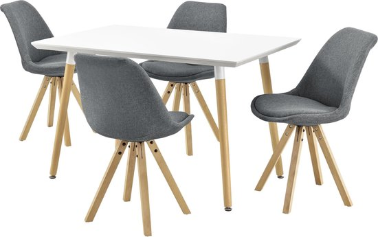 Bol Com En Casa Design Eetkamer Set Met 4 Stoelen Stof Wit En Grijs
