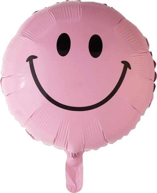 Helium Ballon Emoji Smile Lichtroze 45cm Leeg