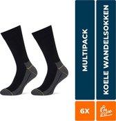 6-Pack Koele Naadloze Wandelsokken Stapp Yellow - Walker 4425.699 - Zwart - Unisex - Maat 43-46