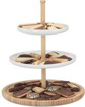 relaxdays etagère bamboe - meerdere lagen - keramiek - serveerschaal - fruitschaal - wit 3