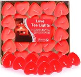 Rode waxinelichtjes - Hartjes waxinelichtjes - Waxinelichtjes - Hart Rode hartvormige waxinelichtjes - 50 stuks