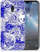 Silicone Back Case Nokia 2.2 Angel Skull Blue