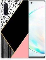 TPU Hoesje Samsung Galaxy Note 10 Zwart Roze Vormen