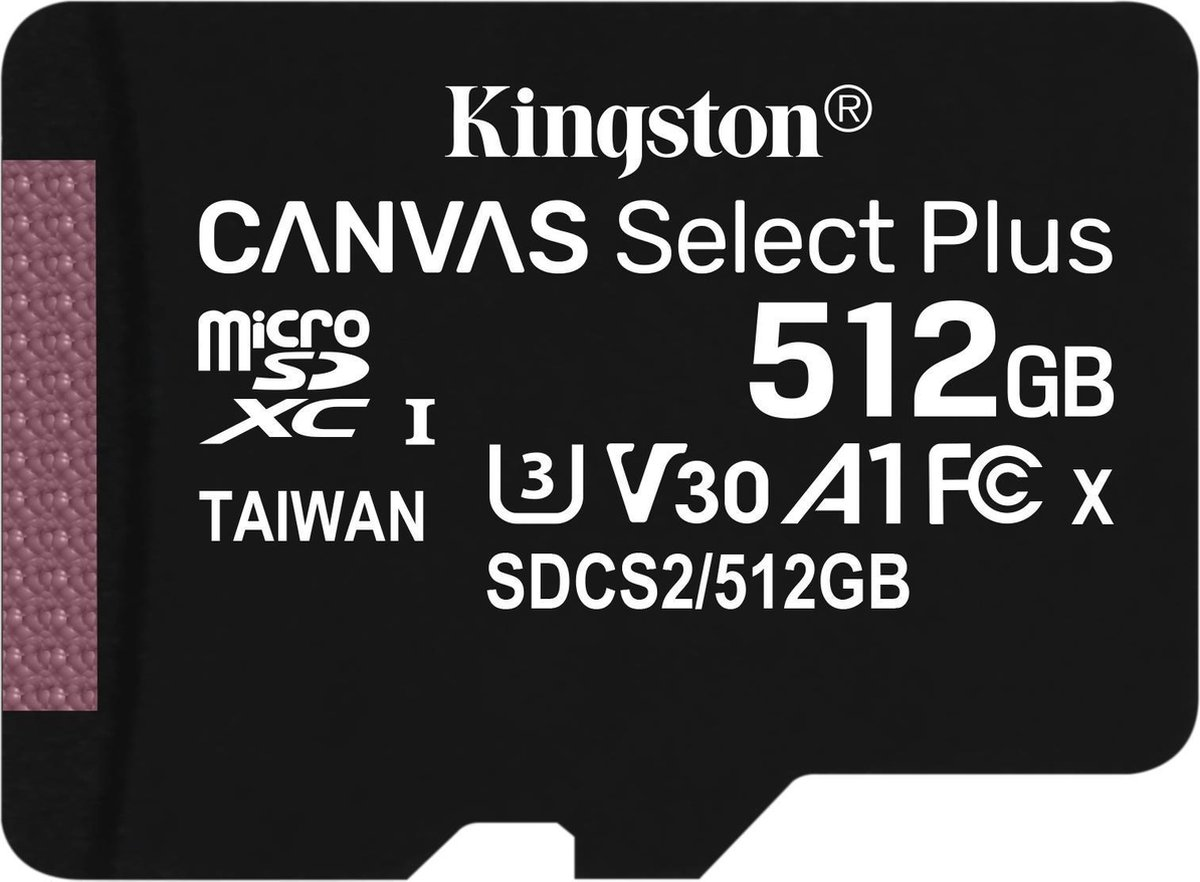 Kingston Canvas Select Plus microSD Card 10 UHS-I - 512GB - inclusief SD adapter