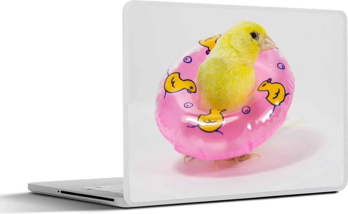 Laptop sticker - 17.3 inch - Een schattige gele kanarie met een roze zwemband om zich