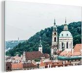 Glasschilderij - Praag - Boom - Huis - 150x100 cm - Plexiglas Schilderijen