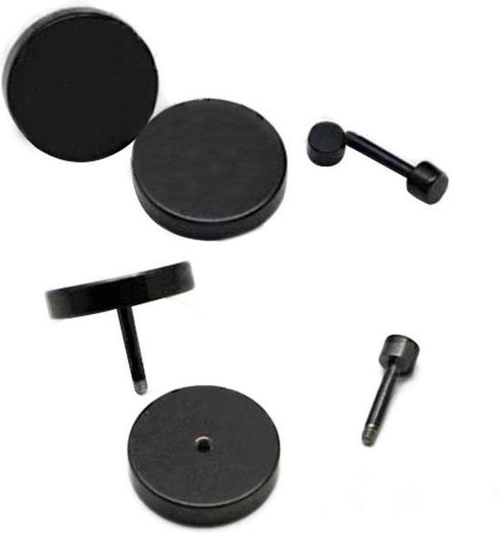 Zwarte cirkel oorbellen - Dames, Heren - Zwart