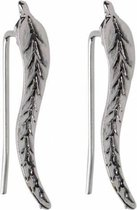 Joboly Trendy oorbellen met blad veer leaf langs je oorlijn - Dames - Zilverkleurig