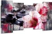 Canvas schilderij Bloem | Rood, Grijs, Wit | 150x80cm 5Luik