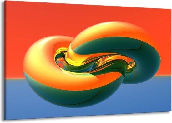 Canvas schilderij Abstract | Goud, Groen, Rood | 140x90cm 1Luik