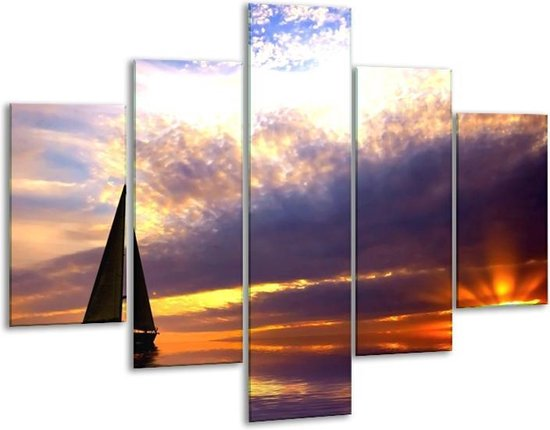 Glasschilderij Boot   Grijs, Geel, Paars   100x70cm 5Luik   Foto print op Glas    F000274