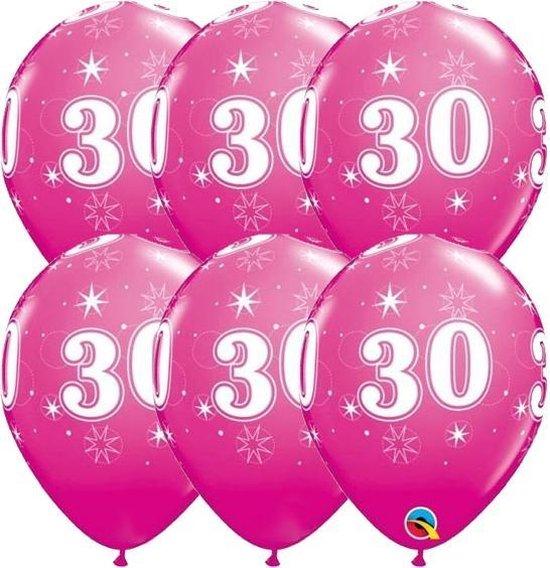 Ballonnen 30 jaar Fuchsia Qualatex 6 stuks