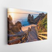 Wooden footbridge to the beach Praia do Camilo, Portugal. - Modern Art Canvas - Horizontal - 1523724197 - 80*60 Horizontal