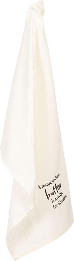 Clayre & Eef Theedoek KT042C.049 46*70 cm - Wit, Zwart Katoen VaatdoekKeukendoekSchotelvod