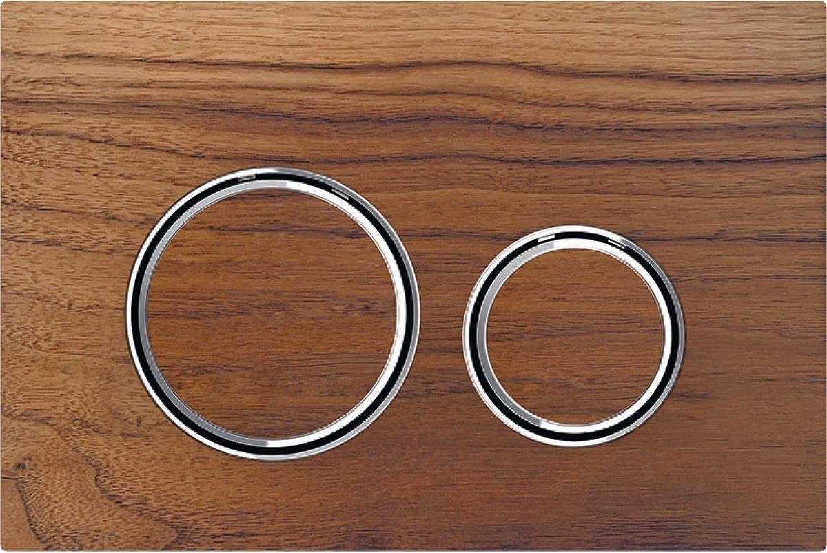 Geberit Sigma21 bedieningspaneel 2-knops, noten/chroom