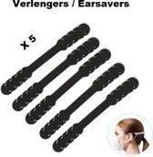 Mondkapje / Mondmasker Verlenger Earsavers - Set van 5 - Zwart - Voorkomt irritatie en pijnlijke oren - Oor Beschermer - Mondkapje Verlengstuk
