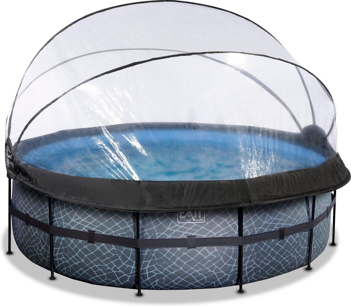 EXIT Stone zwembad ø427x122cm met overkapping en zandfilter- en warmtepomp - grijs