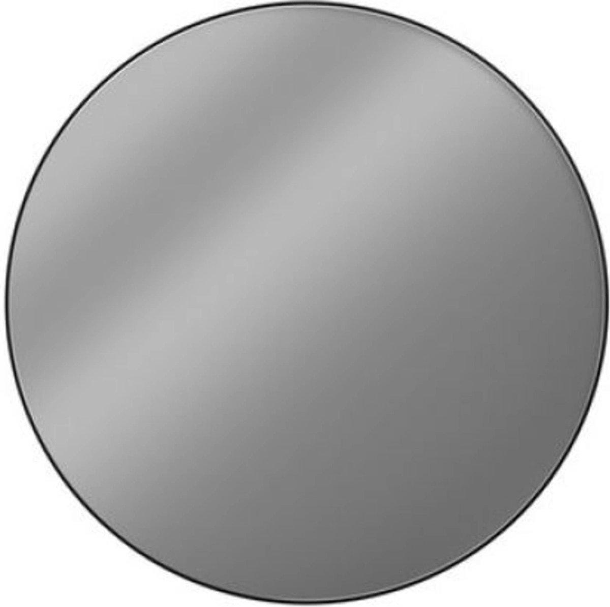 Looox Black Line Round Spiegel   100 cm Mat Zwart