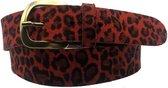 Rode riem - Leopard V45 Red  Dames riem - Broekriem Dames - Dames riem -  Dames riemen - heren riem - heren riemen - riem - riemen - Designer riem - luxe