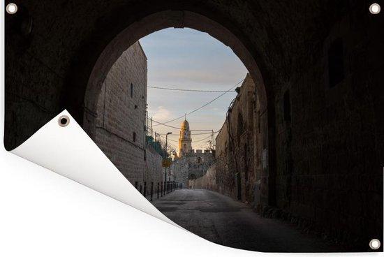 De oude stad van Jeruzalem in Azië vanuit de straten Tuinposter 90x60 cm - Tuindoek / Buitencanvas / Schilderijen voor buiten (tuin decoratie)