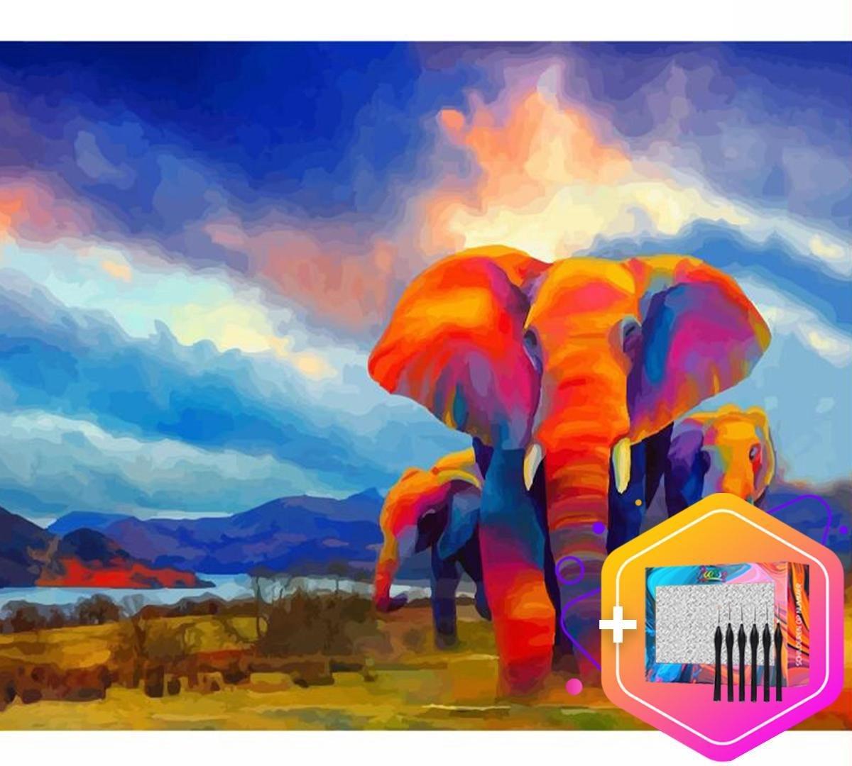 Pcasso ® Olifant - Schilderen Op Nummer - Incl. 6 Ergonomische Penselen En Geschenkverpakking - Schilderen Op Nummer Dieren - Schilderen Op Nummer Volwassenen - Canvas Schilderdoek - Kleuren Op Nummer - 40x50 cm