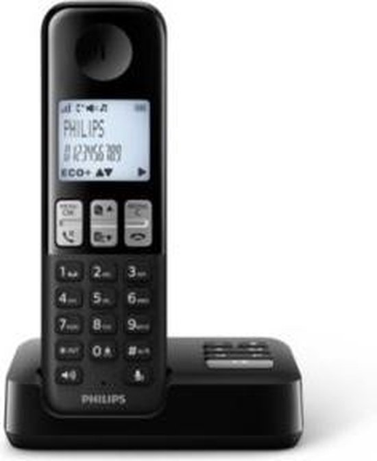 Philips D2551B/01- Draadloze DECT-telefoon met 1 handset met antwoordapparaat, 50 namen/nummers en nummerherkenning - Zwart