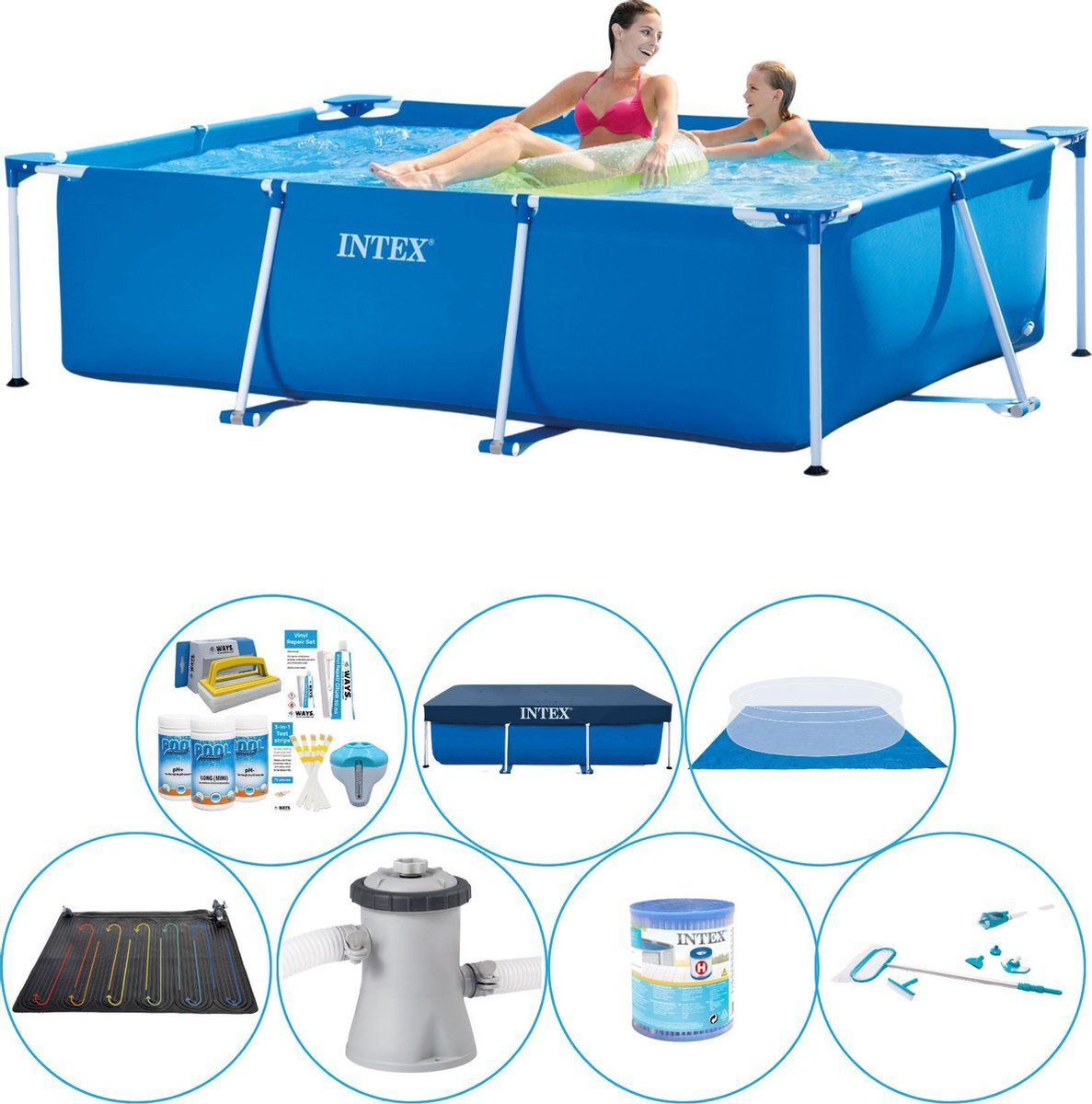 Intex Frame Pool Zwembad - 220 x 150 x 60 cm - Voordeelset