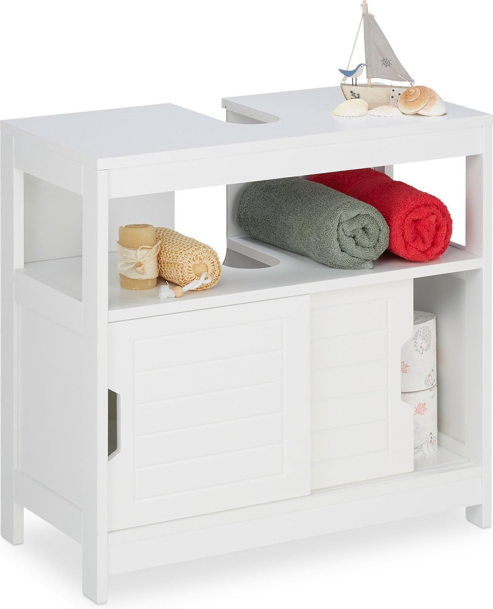 relaxdays wastafelonderkast wit - wastafelmeubel 60 cm - badkamerkast hout - wastafelkast