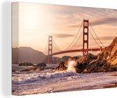 Golden Gate Bridge in San Francisco Canvas 90x60 cm - Foto print op Canvas schilderij (Wanddecoratie woonkamer / slaapkamer) / Amerikaanse steden Canvas Schilderijen