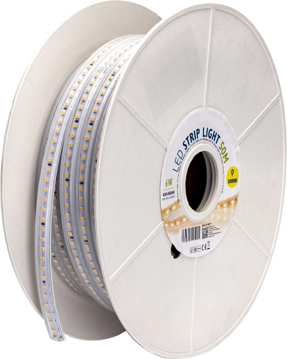 LED Strip - Igory Stribo - 50 Meter - Dimbaar - IP65 Waterdicht - Warm Wit 3000K - 2835 SMD 230V