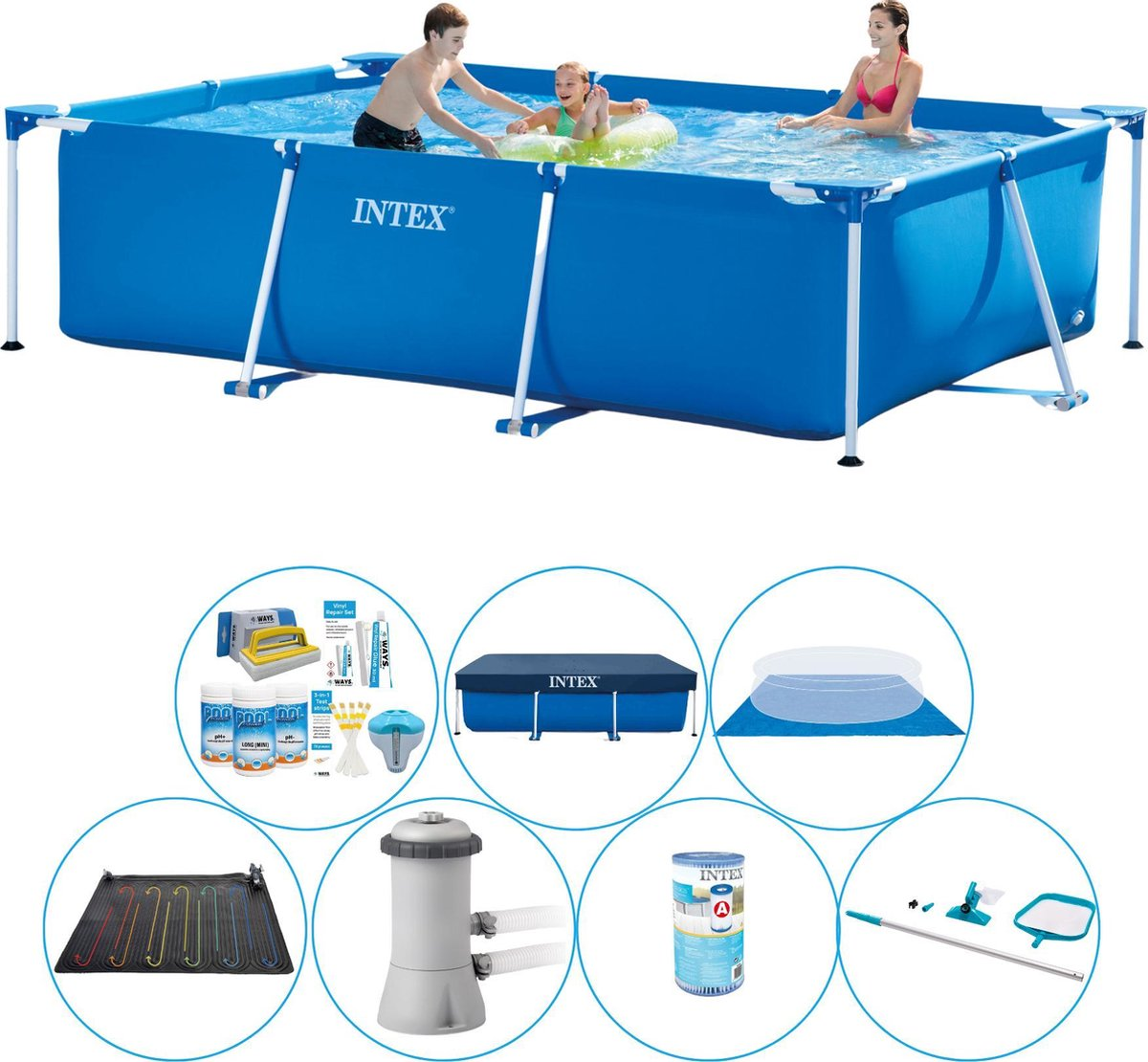 Intex Frame Pool Rechthoekig 300x200x75 cm - Zwembad Pakket