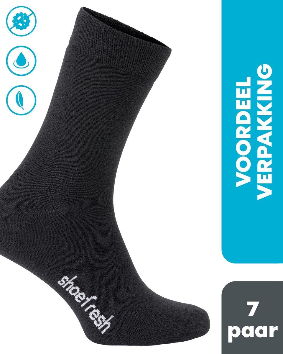 7 paar Shoefresh Bamboe Sokken Heren - Maat 43-45 – Zwart – Naadloze Sokken