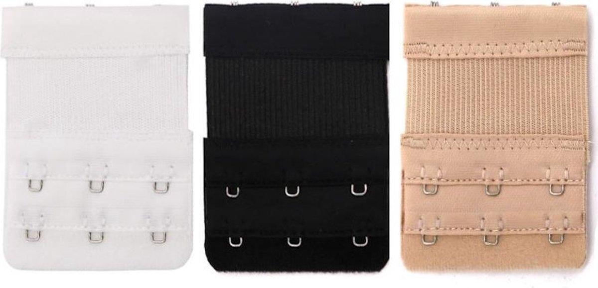 Trendfield Bh Verlengstuk 3 Haaks Elastisch - 3Pack - Zwart, Wit en Beige
