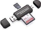 SD Kaartlezer USB voor Micro SD kaart - SD kaart - Geschikt voor Telefoon, PC en Tablet met Micro USB aansluiting - Zwart